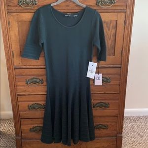 3/4 Sleeve Bottle Green Dress